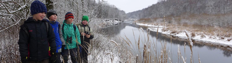 Zimní pozorování ptáků u řeky